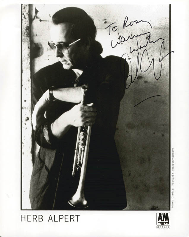 Image 1 for Herb Alpert - Inscribed Printed Photograph Signed In Ink - HFSID 189220