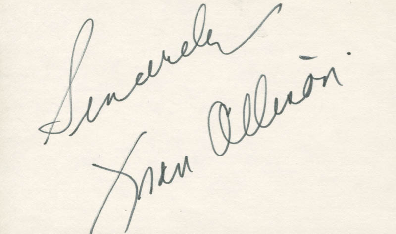 Image 1 for Fran Allison - Autograph Sentiment Signed - HFSID 18932