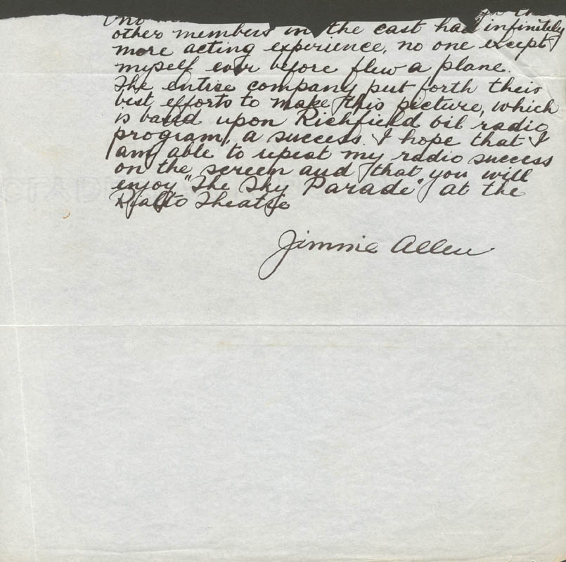 Image 1 for The Air Adventures Of Jimmie Allen - Autograph Letter Fragment Signed In Character - HFSID 18935