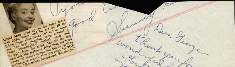 Image 3 for Abbott & Costello (Lou Costello) - Autograph Note Signed co-signed by: Sunny Gale - HFSID 18964