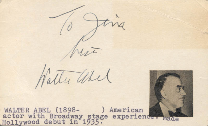 Image 1 for Walter Abel - Autograph Note Signed - HFSID 18965