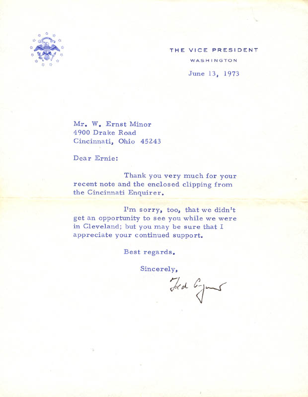 Image 1 for Vice President Spiro T. Agnew - Typed Letter Signed 06/13/1973 - HFSID 189654