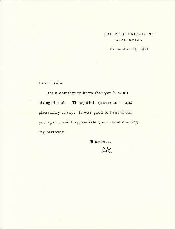 Image 1 for Vice President Spiro T. Agnew - Typed Letter Signed 11/11/1971 - HFSID 189655