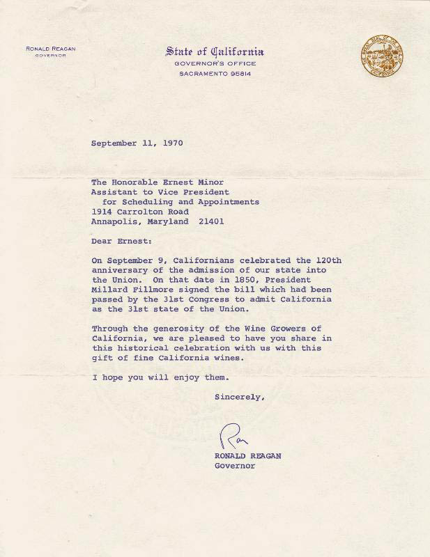 Image 1 for President Ronald Reagan - Typed Letter Signed 09/11/1970 - HFSID 189663