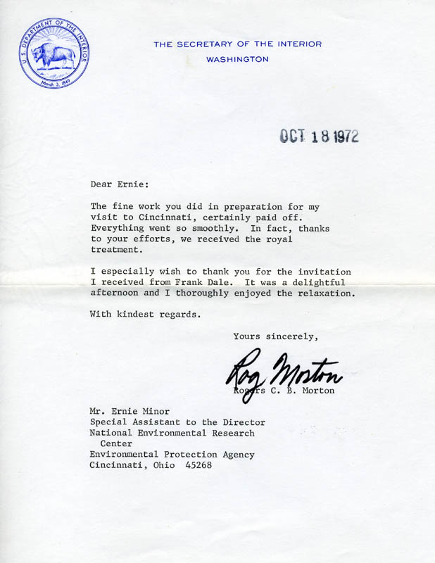 Image 1 for Rogers C.B. Morton - Typed Letter Signed 10/18/1972 - HFSID 189713