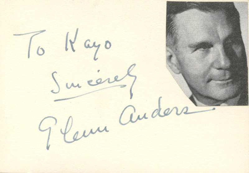 Image 1 for Glenn Anders - Autograph Note Signed - HFSID 18979