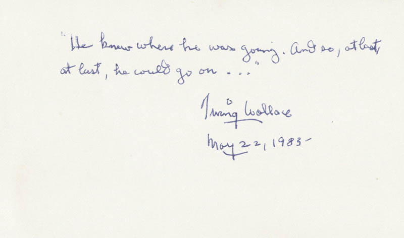 Image 1 for Irving Wallace - Autograph Quotation Signed 05/22/1983 - HFSID 190095