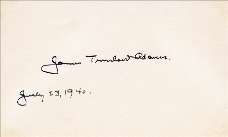 Image 1 for James Truslow Adams - Autograph 07/23/1940 - HFSID 190109