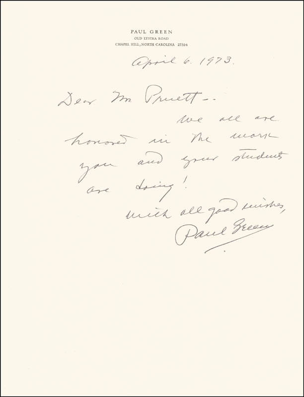 Image 1 for Paul Green - Autograph Letter Signed 04/06/1973 - HFSID 190127