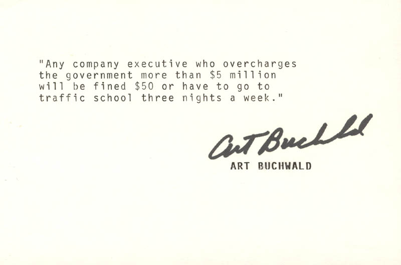 Image 1 for Art Buchwald - Typed Quotation Signed - HFSID 190189