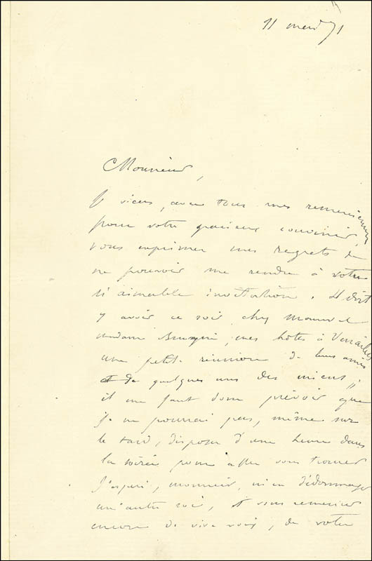 Image 3 for Paul Gustave Dore - Autograph Letter Signed 01/17/1871 - HFSID 190213