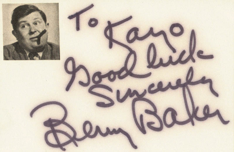 Image 1 for Benny Baker - Autograph Note Signed - HFSID 19023