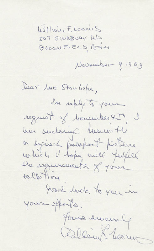 Image 1 for William F. Loomis - Autograph Letter Signed 11/09/1963 - HFSID 190269