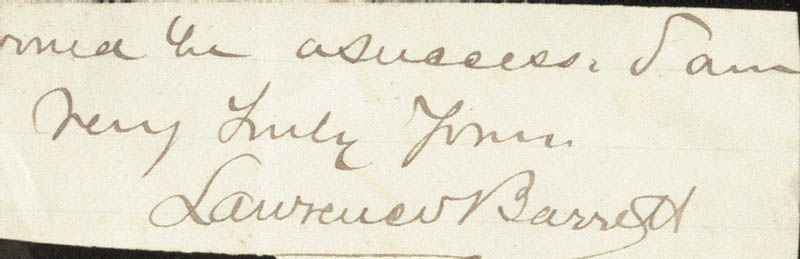 Image 1 for Lawrence Barrett - Autograph Sentiment Signed - HFSID 19043