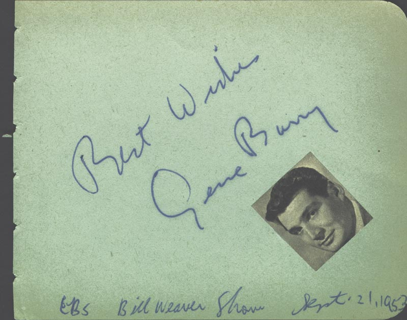 Image 1 for Gene Barry - Autograph Sentiment Signed 09/21/1953 - HFSID 19044