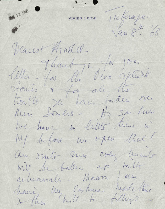Image 1 for Vivien Leigh - Autograph Letter Signed 01/08/1966 - HFSID 190488
