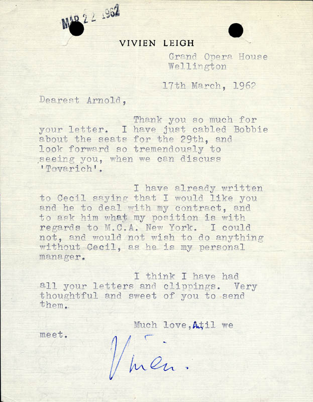 Image 1 for Vivien Leigh - Typed Letter Signed 03/17/1962 - HFSID 190494