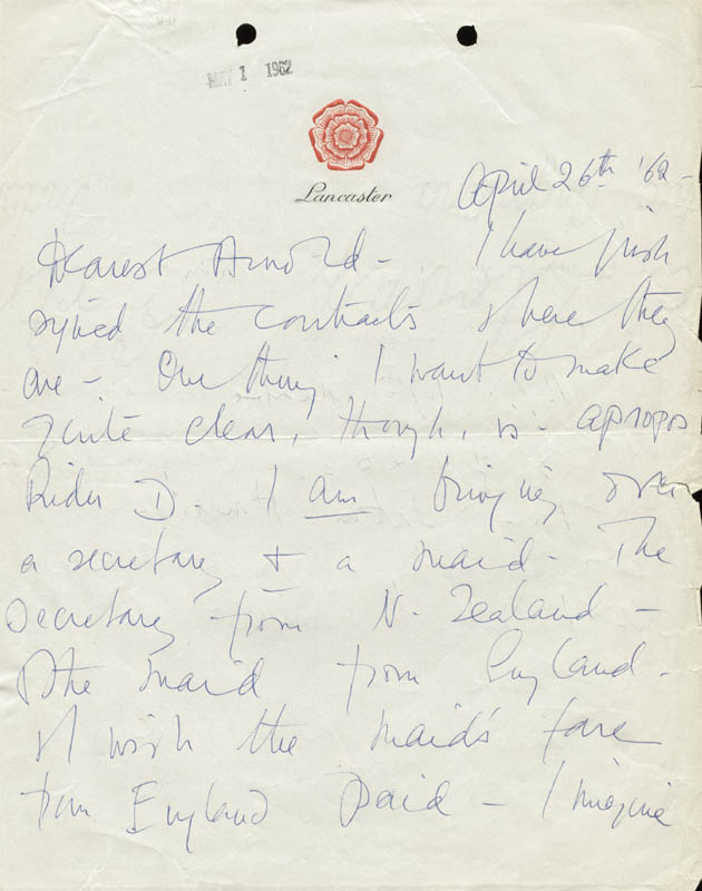 Image 1 for Vivien Leigh - Autograph Letter Signed 04/26/1962 - HFSID 190502