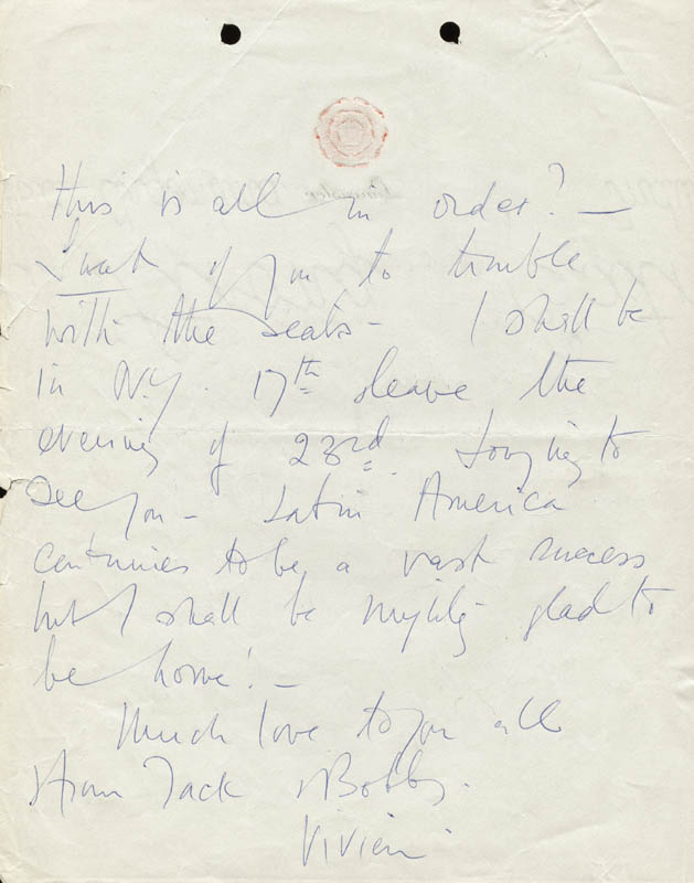 Image 3 for Vivien Leigh - Autograph Letter Signed 04/26/1962 - HFSID 190502