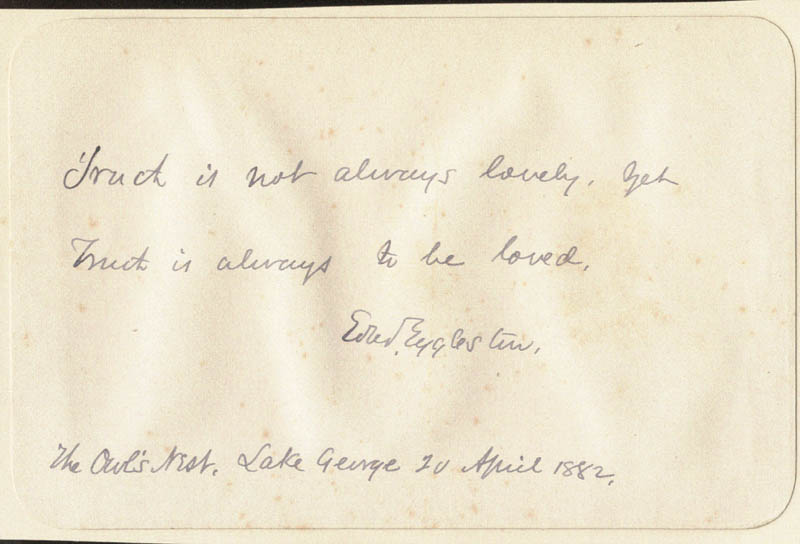 Image 1 for Edward Eggleston - Autograph Quotation Signed 04/20/1882 - HFSID 190537