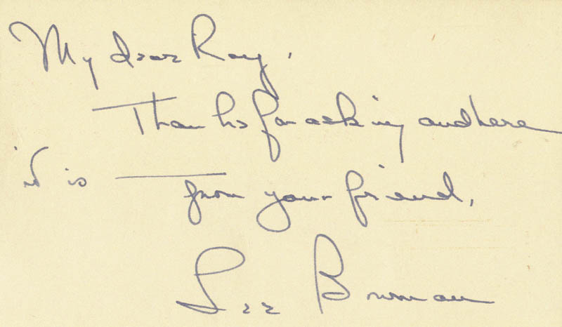 Image 1 for Lee Bowman - Autograph Note Signed 10/05/1953 - HFSID 19138