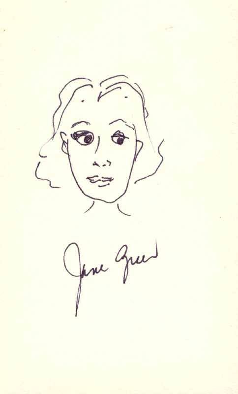 Image 1 for Jane Greer - Self-caricature Signed - HFSID 191547
