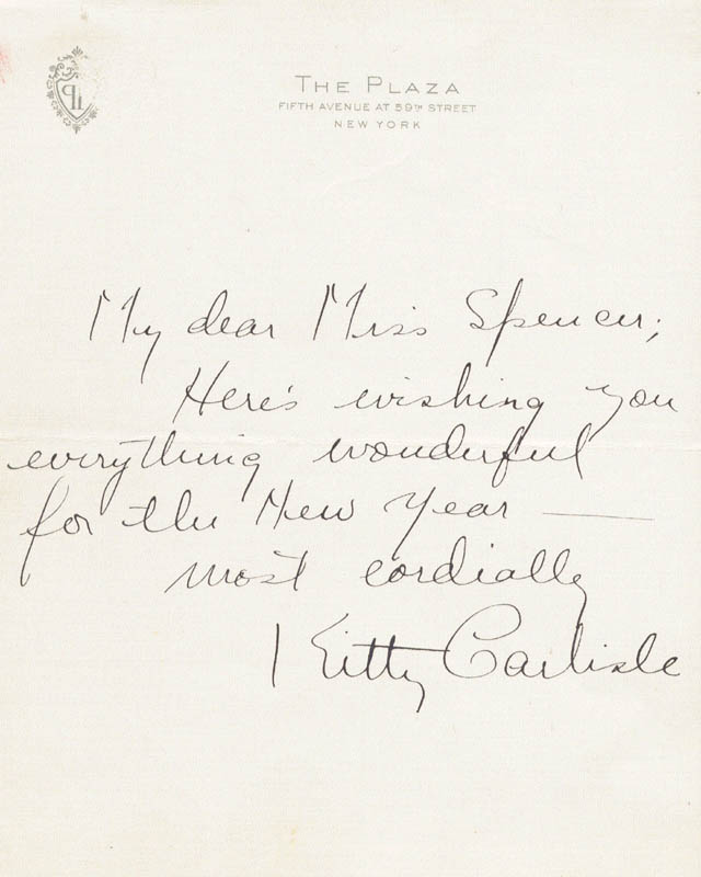 Image 1 for Kitty Carlisle - Autograph Letter Signed - HFSID 19206