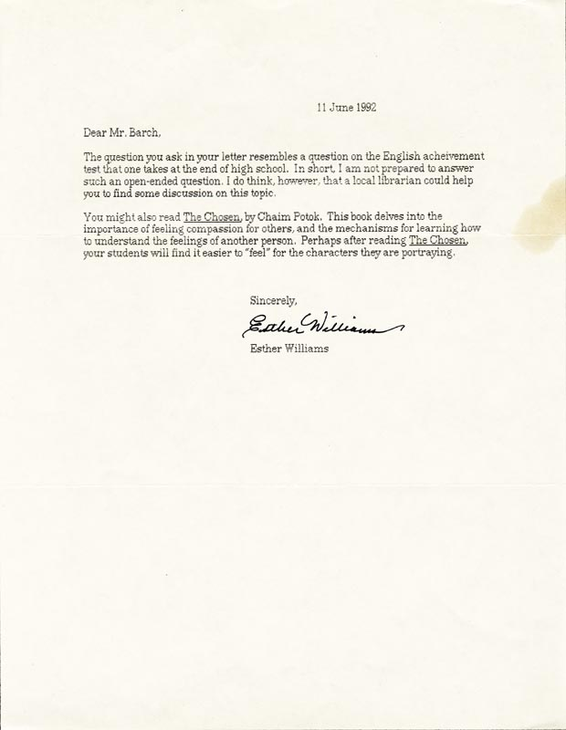 Image 1 for Esther Williams - Typed Letter Signed 06/11/1992 - HFSID 192250