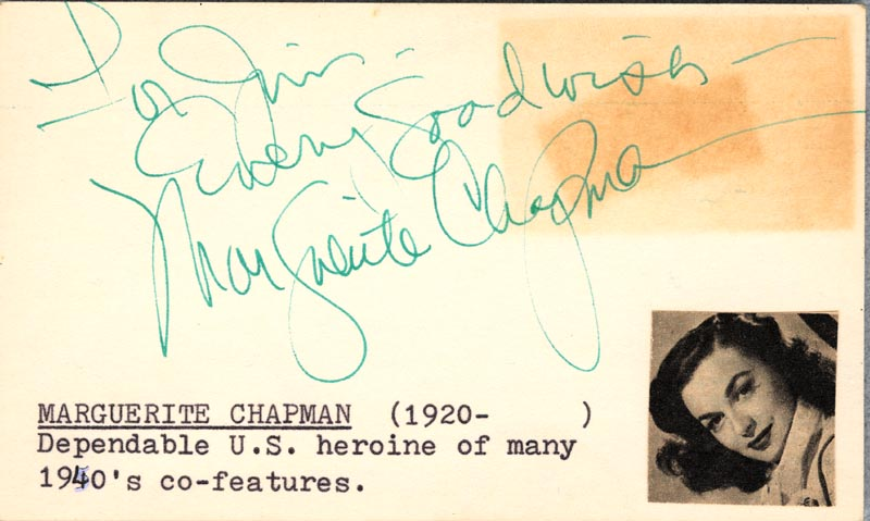 Image 1 for Marguerite Chapman - Autograph Note Signed - HFSID 19287