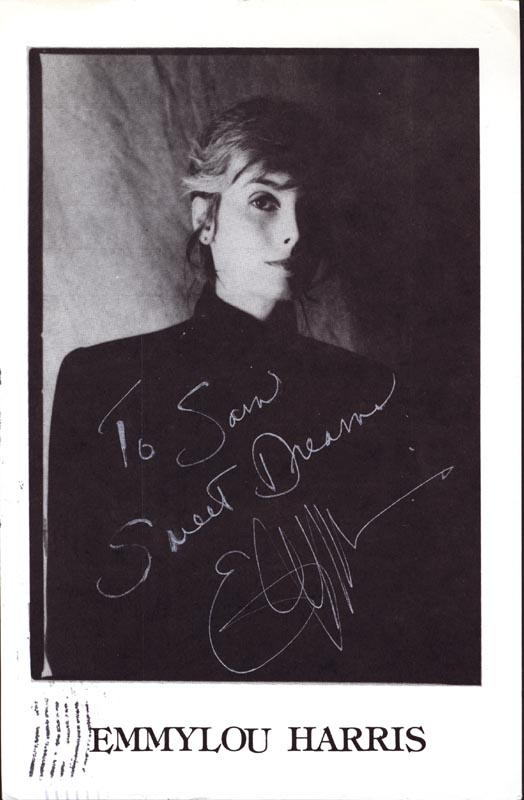 Image 1 for Emmy Lou Harris - Autographed Inscribed Photograph Circa 1989 - HFSID 192892