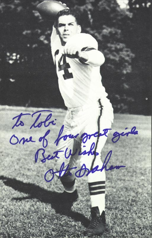 Image 1 for Otto Graham - Inscribed Picture Postcard Signed - HFSID 192904