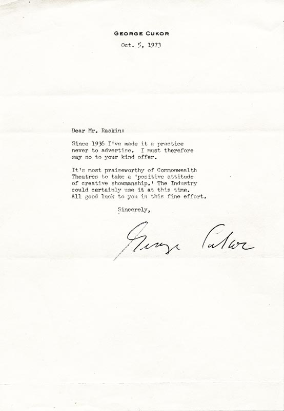 Image 1 for George D. Cukor - Typed Letter Signed 10/05/1973 - HFSID 19323