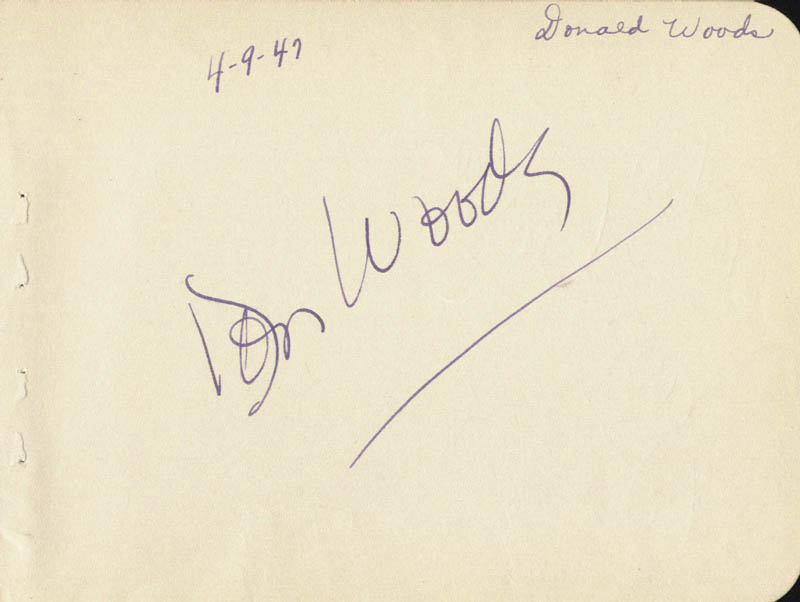 Image 3 for Jerome Cowan - Inscribed Signature Circa 1947 co-signed by: Donald Woods - HFSID 19350