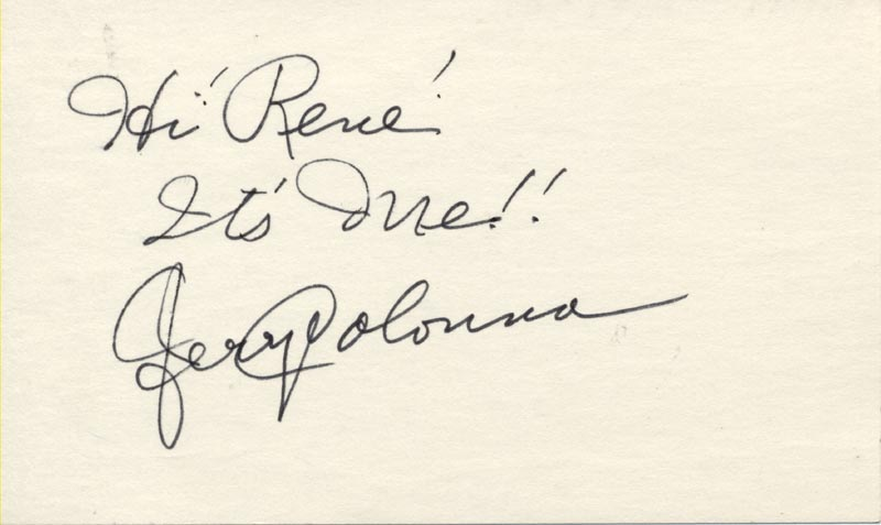 Image 1 for Jerry Colonna - Autograph Note Signed - HFSID 19388