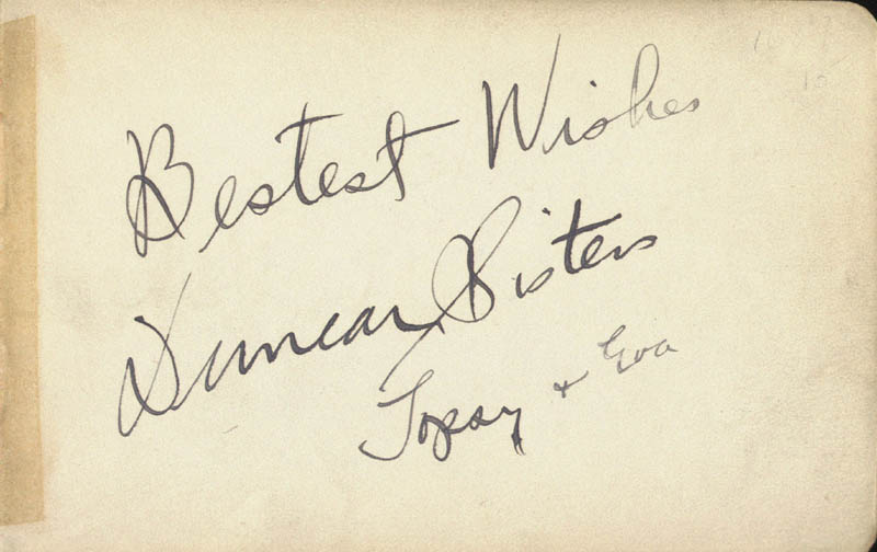 Image 1 for Duncan Sisters 'Topsy & Eva' - Autograph Sentiment Signed with co-signers - HFSID 19420
