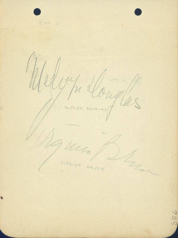 Image 1 for Melvyn Douglas - Autograph co-signed by: Virginia Bruce, Walter Connolly, Gilbert Roland, Helen Vinson - HFSID 19447