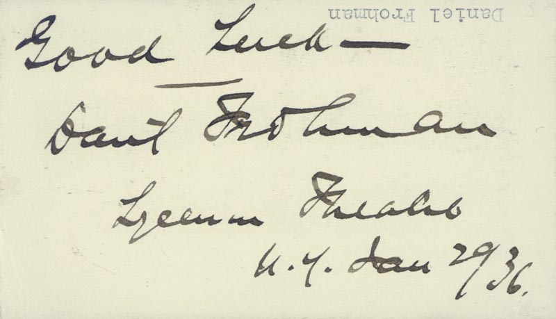 Image 1 for Daniel Frohman - Autograph Sentiment Signed 01/29/1936 - HFSID 19619