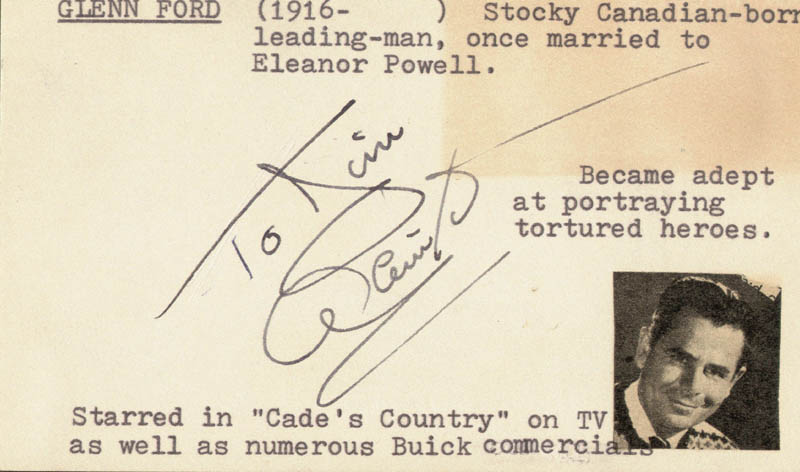 Image 1 for Glenn Ford - Inscribed Signature Circa 1953 - HFSID 19641