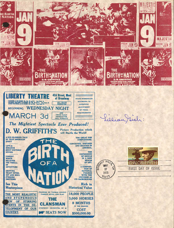 Image 1 for Lillian Gish - Commemorative Sheet With First Day Cancellation - HFSID 19676