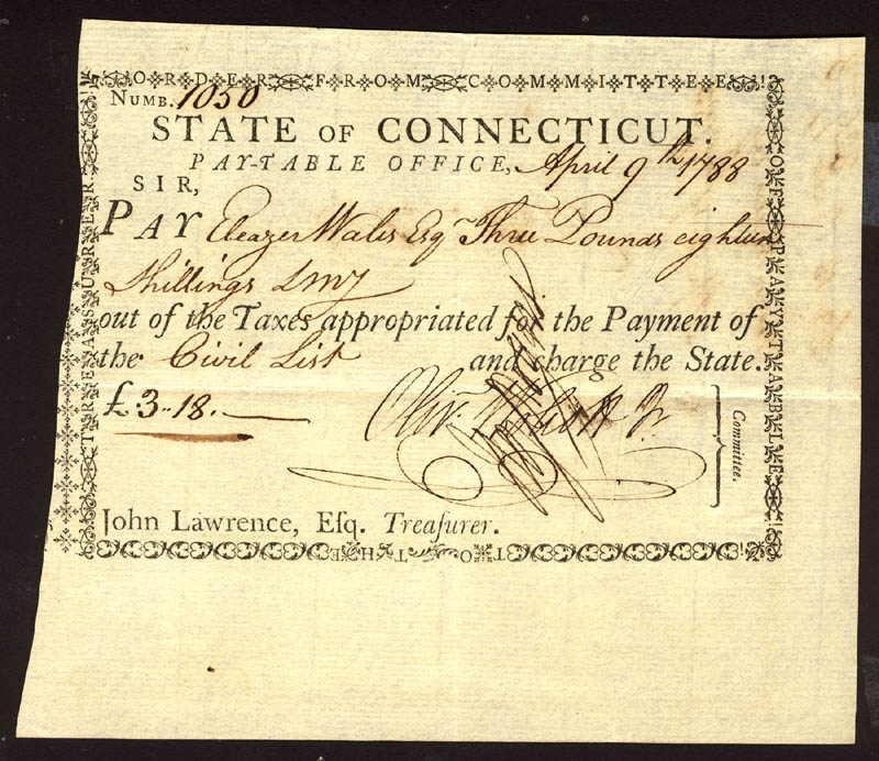 Image 1 for Oliver Wolcott Jr. - Promissory Note Signed 04/09/1788 co-signed by: Eleazer Wales, Hezekiah Rogers - HFSID 1972