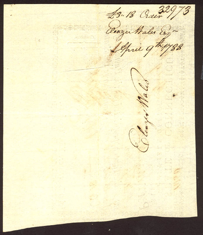 Image 3 for Oliver Wolcott Jr. - Promissory Note Signed 04/09/1788 co-signed by: Eleazer Wales, Hezekiah Rogers - HFSID 1972
