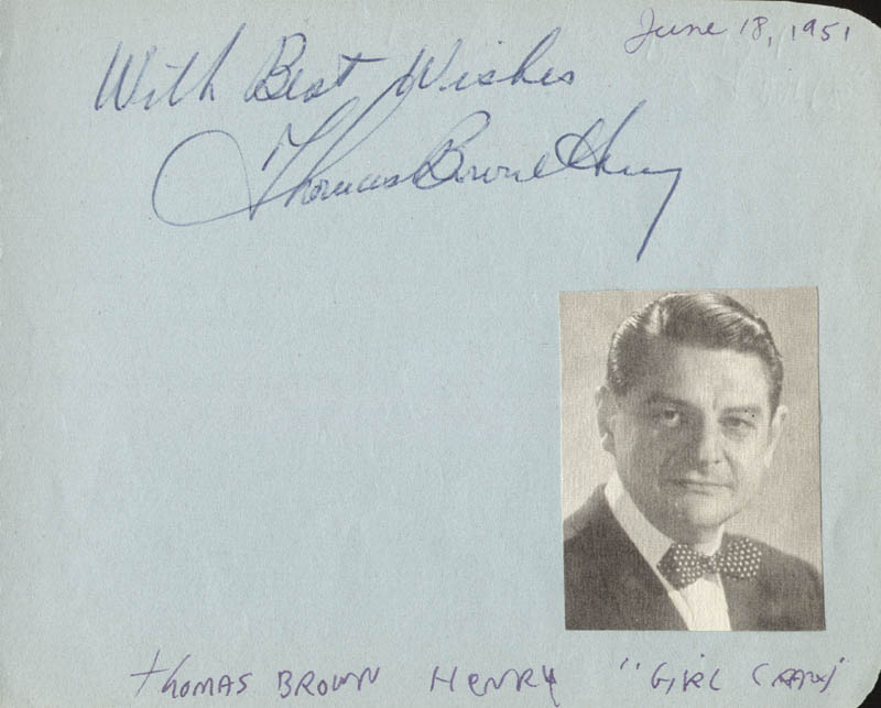Image 1 for Thomas Browne Henry - Autograph Sentiment Signed Circa 1951 - HFSID 19814