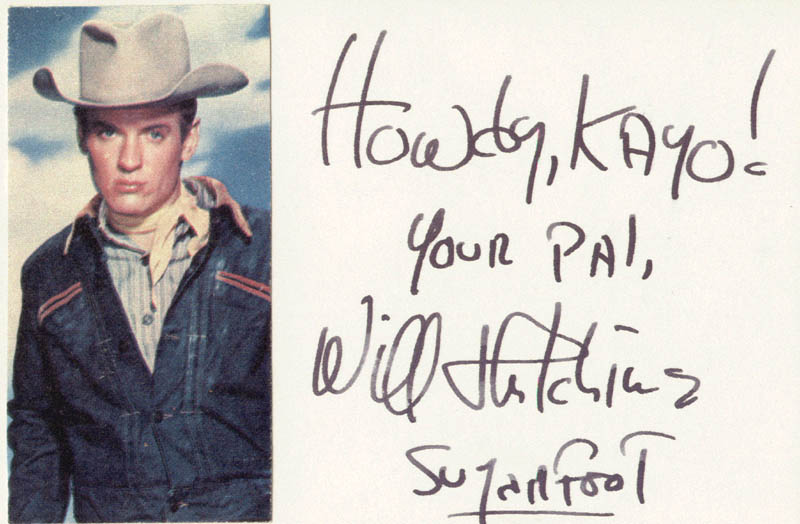 Image 1 for Will 'Sugarfoot' Hutchins - Autograph Note Signed - HFSID 19847