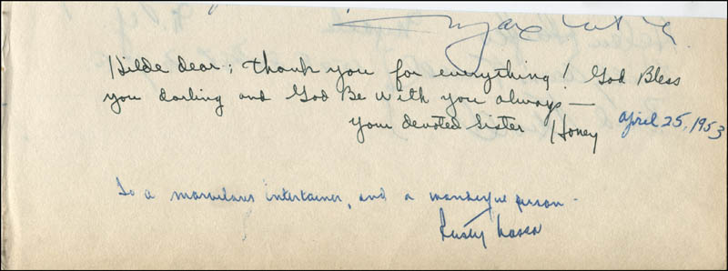 Image 3 for Helen Hayes - Autograph co-signed by: Beatrice 'Honey' Zummach - HFSID 19860