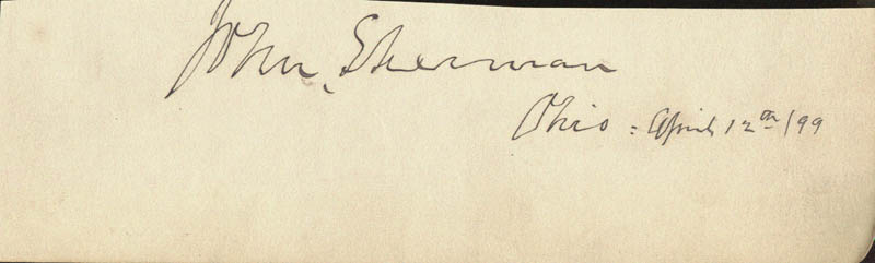 Image 1 for John Sherman - Autograph 04/12/1899 - HFSID 1987