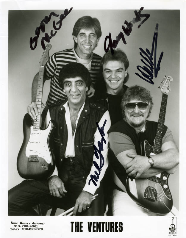 Image 1 for The Ventures - Autographed Signed Photograph co-signed by: The Ventures (Mel Taylor), The Ventures (Gerry Mcgee), The Ventures (Gary Wood) - HFSID 199714
