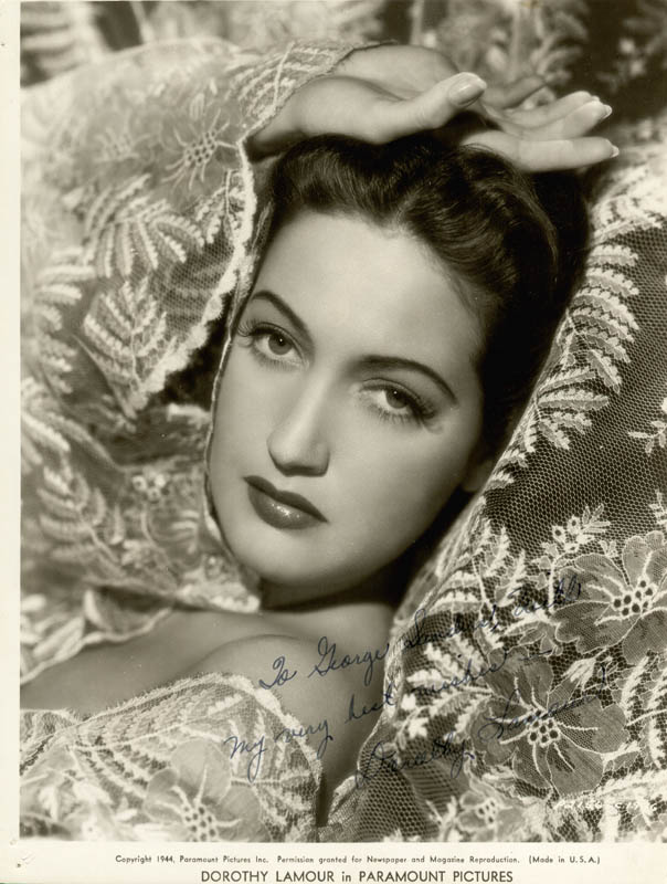 Image 1 for Dorothy Lamour - Inscribed Printed Photograph Signed In Ink Circa 1944 - HFSID 19981