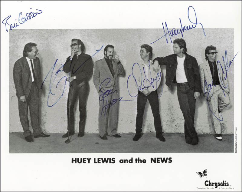 Image 1 for Huey Lewis & The News - Autographed Signed Photograph with co-signers - HFSID 200101
