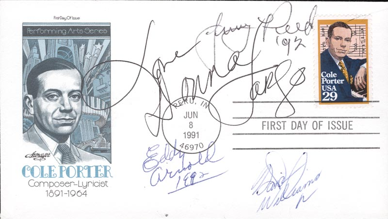 Image 1 for Eddy Arnold - First Day Cover With Autograph Sentiment Signed 1992 co-signed by: Jerry Reed, Donna Fargo, Hank Williams Jr. - HFSID 200677