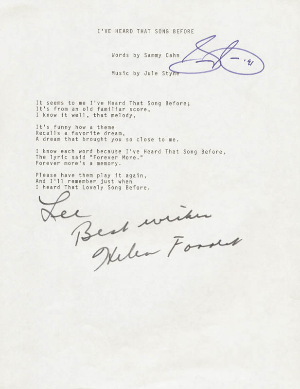 Image 1 for Sammy Cahn - Inscribed Typed Lyric (s) Signed 1991 co-signed by: Helen Forrest - HFSID 201069